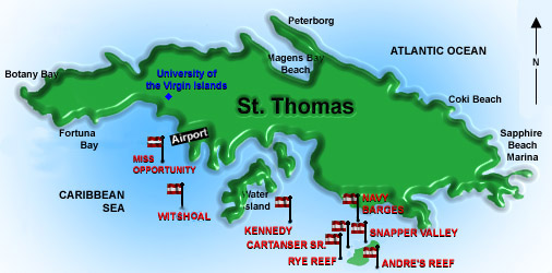 st thomas diving sites map